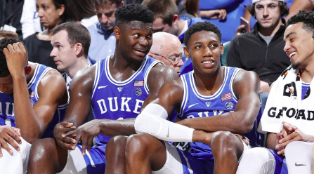 Zion is a permanent bench warmer after last night's knee sprain. Ohh and the NCAA sucks!