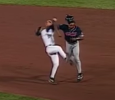 ENTERTAINING: Albert Belle Crushes Fernando Vina to Break Up Double Play